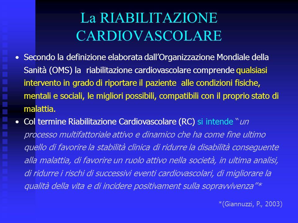 Secondo la definizione elaborata dallOrganizzazione Mondiale della Sanità (OMS) la riabilitazione cardiovascolare comprende qualsiasi intervento in gr