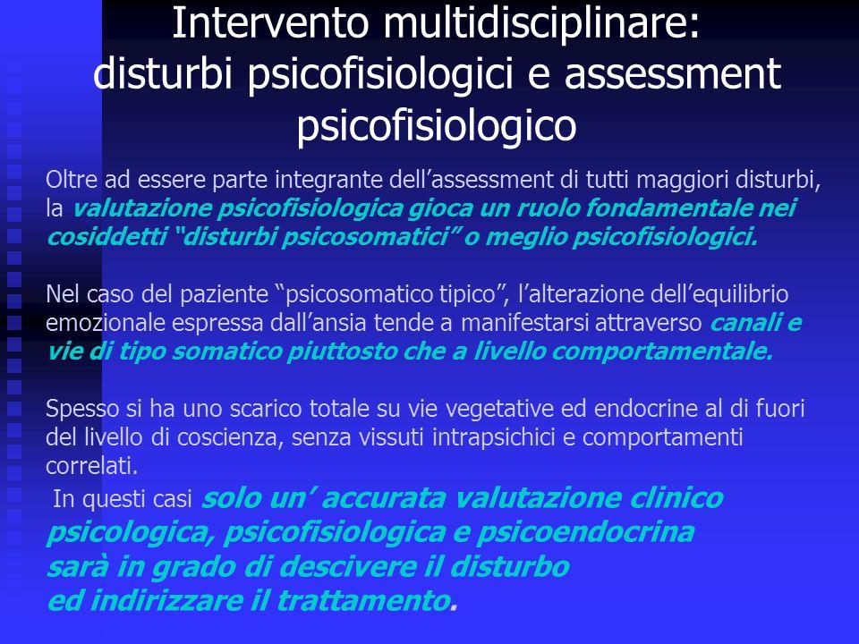 Oltre ad essere parte integrante dellassessment di tutti maggiori disturbi, la valutazione psicofisiologica gioca un ruolo fondamentale nei cosiddetti disturbi psicosomatici o meglio psicofisiologici.