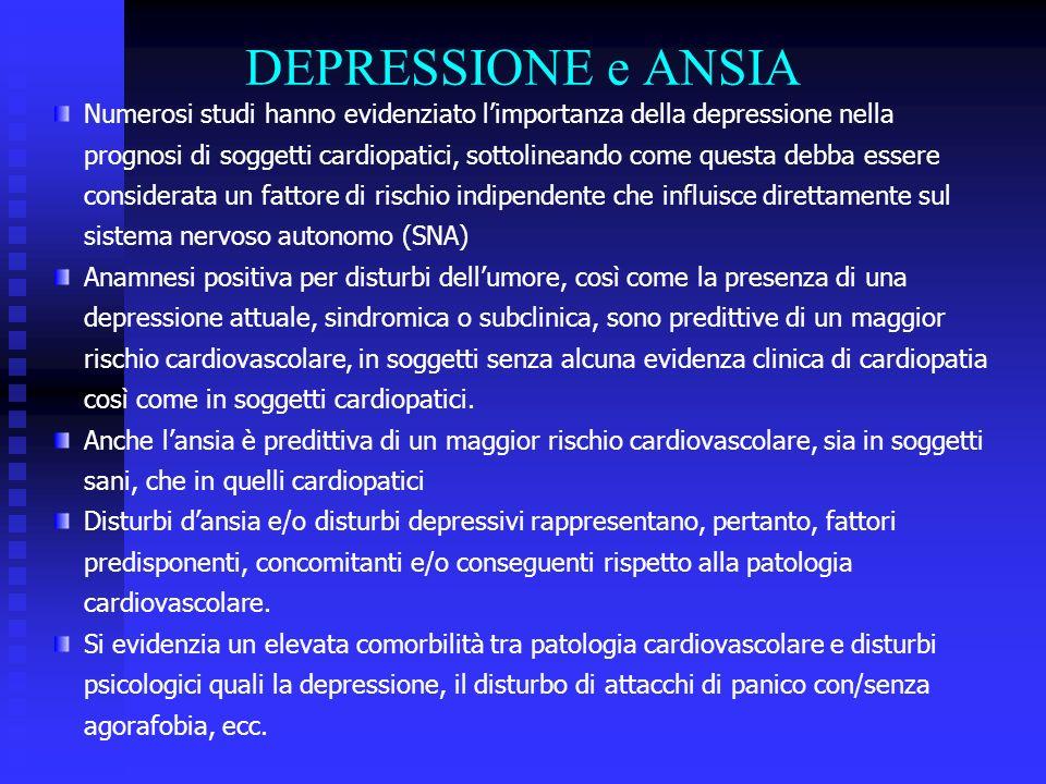 DEPRESSIONE e ANSIA Numerosi studi hanno evidenziato limportanza della depressione nella prognosi di soggetti cardiopatici, sottolineando come questa debba essere considerata un fattore di rischio indipendente che influisce direttamente sul sistema nervoso autonomo (SNA) Anamnesi positiva per disturbi dellumore, così come la presenza di una depressione attuale, sindromica o subclinica, sono predittive di un maggior rischio cardiovascolare, in soggetti senza alcuna evidenza clinica di cardiopatia così come in soggetti cardiopatici.