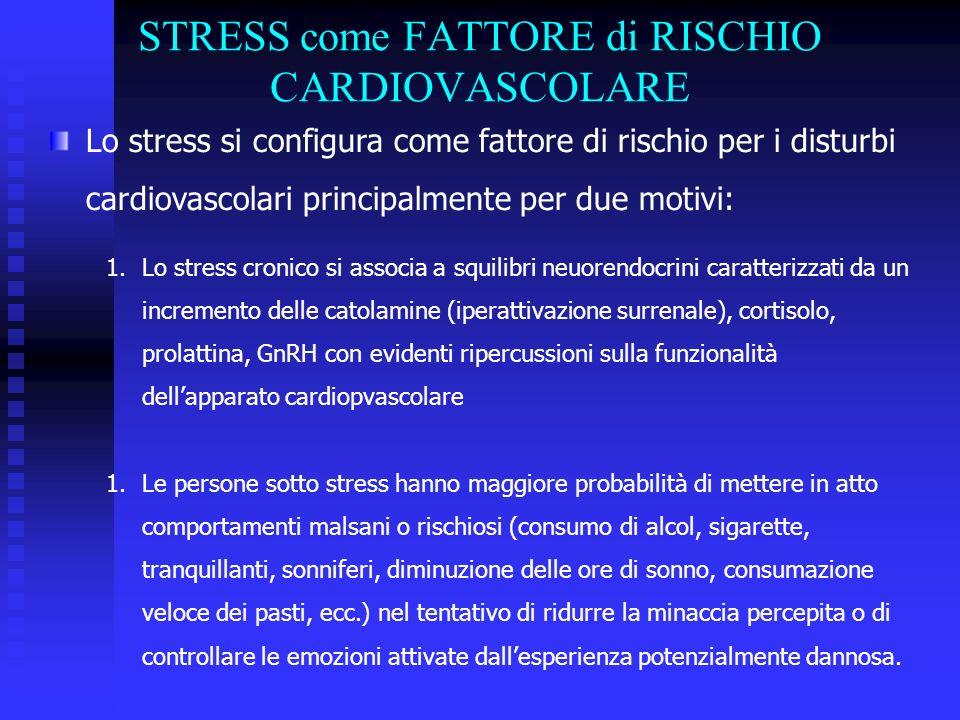 STRESS come FATTORE di RISCHIO CARDIOVASCOLARE Lo stress si configura come fattore di rischio per i disturbi cardiovascolari principalmente per due motivi: 1.Lo stress cronico si associa a squilibri neuorendocrini caratterizzati da un incremento delle catolamine (iperattivazione surrenale), cortisolo, prolattina, GnRH con evidenti ripercussioni sulla funzionalità dellapparato cardiopvascolare 1.Le persone sotto stress hanno maggiore probabilità di mettere in atto comportamenti malsani o rischiosi (consumo di alcol, sigarette, tranquillanti, sonniferi, diminuzione delle ore di sonno, consumazione veloce dei pasti, ecc.) nel tentativo di ridurre la minaccia percepita o di controllare le emozioni attivate dallesperienza potenzialmente dannosa.