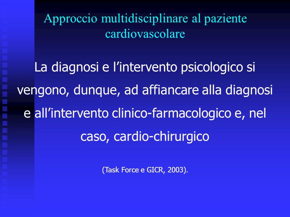 La diagnosi e lintervento psicologico si vengono, dunque, ad affiancare alla diagnosi e allintervento clinico-farmacologico e, nel caso, cardio-chirurgico (Task Force e GICR, 2003).