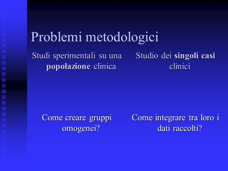 Problemi metodologici Studi sperimentali su una popolazione clinica Come creare gruppi omogenei? Studio dei singoli casi clinici Come integrare tra lo