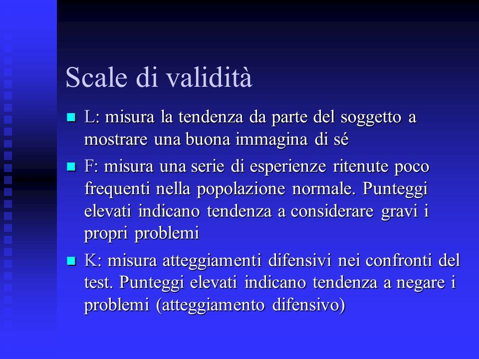 Scale di validità L: misura la tendenza da parte del soggetto a mostrare una buona immagina di sé L: misura la tendenza da parte del soggetto a mostrare una buona immagina di sé F: misura una serie di esperienze ritenute poco frequenti nella popolazione normale.