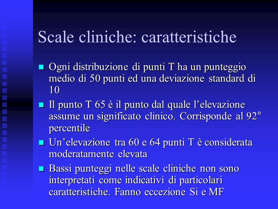 Scale cliniche: caratteristiche Ogni distribuzione di punti T ha un punteggio medio di 50 punti ed una deviazione standard di 10 Ogni distribuzione di punti T ha un punteggio medio di 50 punti ed una deviazione standard di 10 Il punto T 65 è il punto dal quale lelevazione assume un significato clinico.