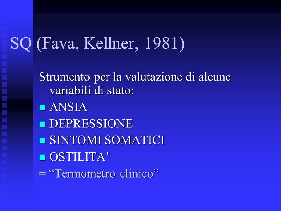 Strumento per la valutazione di alcune variabili di stato: ANSIA ANSIA DEPRESSIONE DEPRESSIONE SINTOMI SOMATICI SINTOMI SOMATICI OSTILITA OSTILITA = Termometro clinico SQ (Fava, Kellner, 1981)
