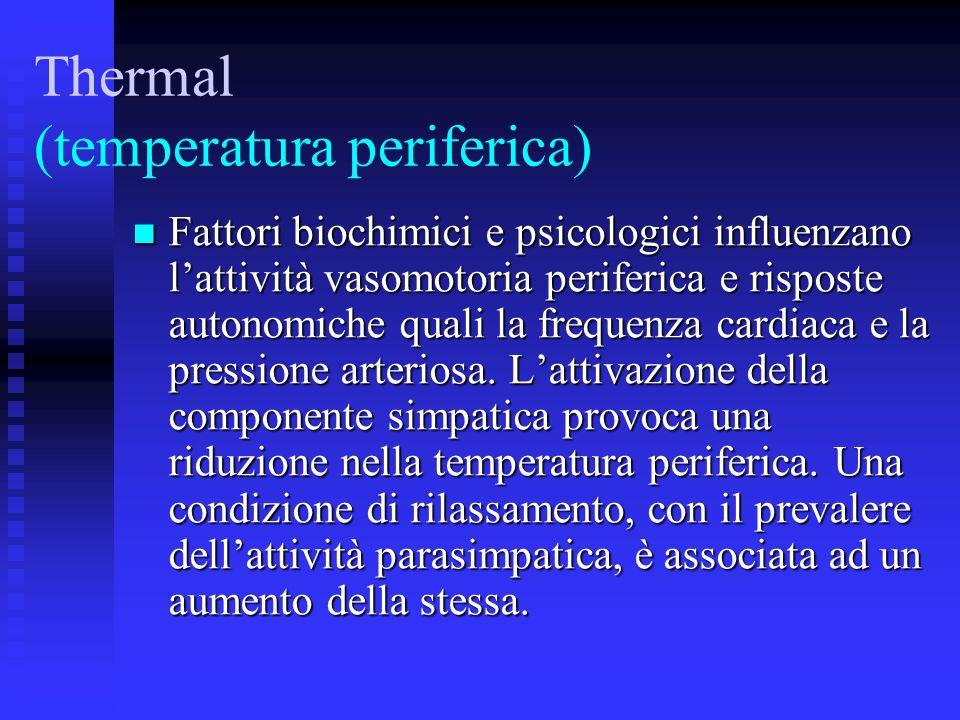 Thermal (temperatura periferica) Fattori biochimici e psicologici influenzano lattività vasomotoria periferica e risposte autonomiche quali la frequenza cardiaca e la pressione arteriosa.