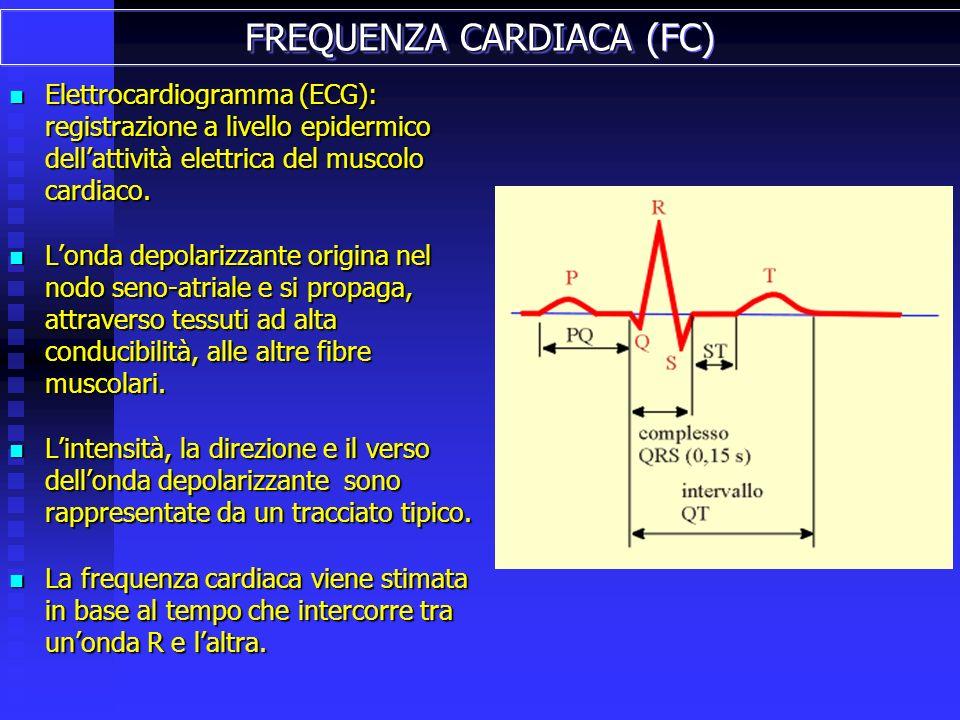 Elettrocardiogramma (ECG): registrazione a livello epidermico dellattività elettrica del muscolo cardiaco.