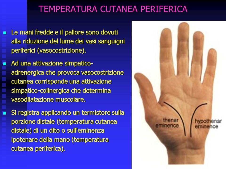 TEMPERATURA CUTANEA PERIFERICA Le mani fredde e il pallore sono dovuti alla riduzione del lume dei vasi sanguigni periferici (vasocostrizione).