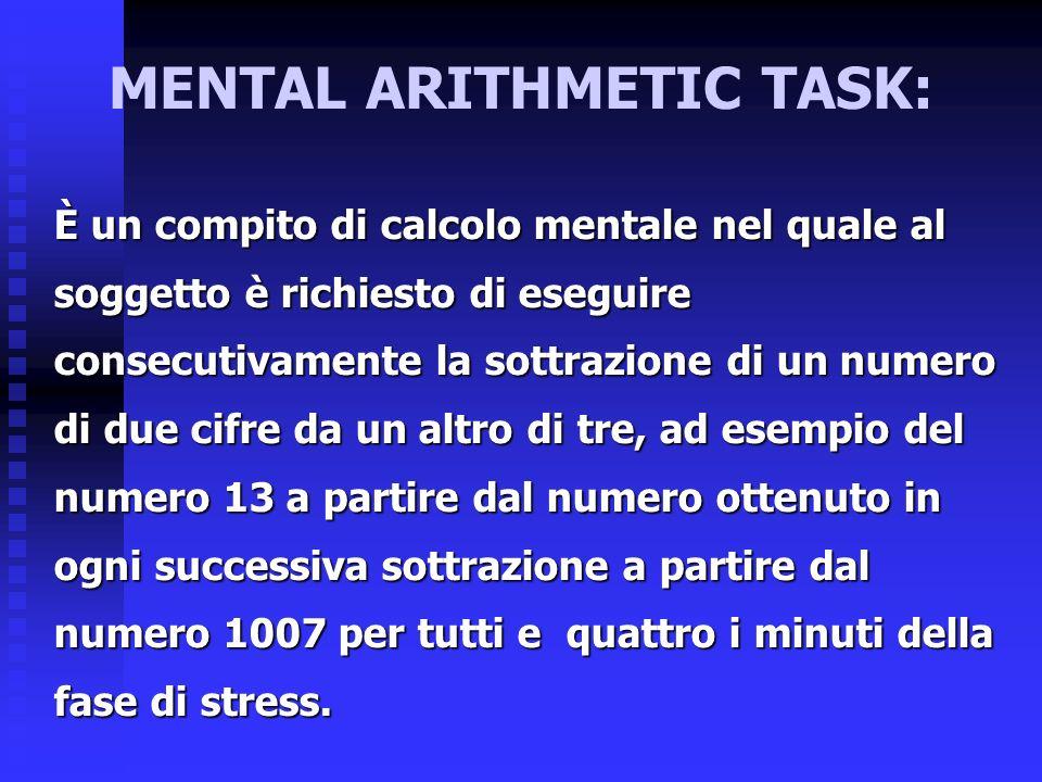 MENTAL ARITHMETIC TASK: È un compito di calcolo mentale nel quale al soggetto è richiesto di eseguire consecutivamente la sottrazione di un numero di due cifre da un altro di tre, ad esempio del numero 13 a partire dal numero ottenuto in ogni successiva sottrazione a partire dal numero 1007 per tutti e quattro i minuti della fase di stress.