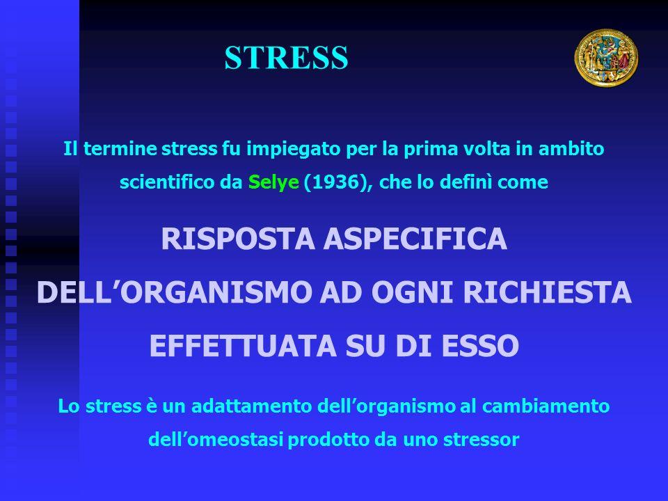 STRESS Il termine stress fu impiegato per la prima volta in ambito scientifico da Selye (1936), che lo definì come RISPOSTA ASPECIFICA DELLORGANISMO AD OGNI RICHIESTA EFFETTUATA SU DI ESSO Lo stress è un adattamento dellorganismo al cambiamento dellomeostasi prodotto da uno stressor