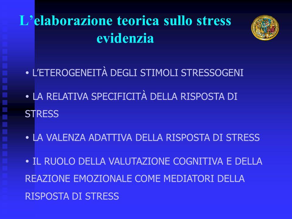 Lelaborazione teorica sullo stress evidenzia LETEROGENEITÀ DEGLI STIMOLI STRESSOGENI LA RELATIVA SPECIFICITÀ DELLA RISPOSTA DI STRESS LA VALENZA ADATTIVA DELLA RISPOSTA DI STRESS IL RUOLO DELLA VALUTAZIONE COGNITIVA E DELLA REAZIONE EMOZIONALE COME MEDIATORI DELLA RISPOSTA DI STRESS