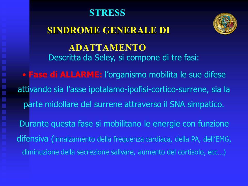 STRESS SINDROME GENERALE DI ADATTAMENTO Descritta da Seley, si compone di tre fasi: Fase di ALLARME: lorganismo mobilita le sue difese attivando sia lasse ipotalamo-ipofisi-cortico-surrene, sia la parte midollare del surrene attraverso il SNA simpatico.