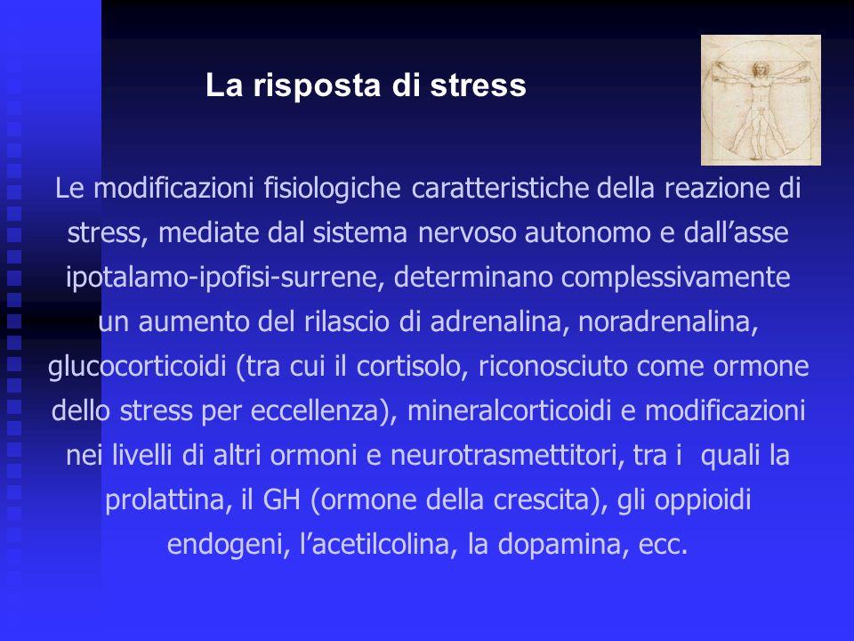 Le modificazioni fisiologiche caratteristiche della reazione di stress, mediate dal sistema nervoso autonomo e dallasse ipotalamo-ipofisi-surrene, determinano complessivamente un aumento del rilascio di adrenalina, noradrenalina, glucocorticoidi (tra cui il cortisolo, riconosciuto come ormone dello stress per eccellenza), mineralcorticoidi e modificazioni nei livelli di altri ormoni e neurotrasmettitori, tra i quali la prolattina, il GH (ormone della crescita), gli oppioidi endogeni, lacetilcolina, la dopamina, ecc.