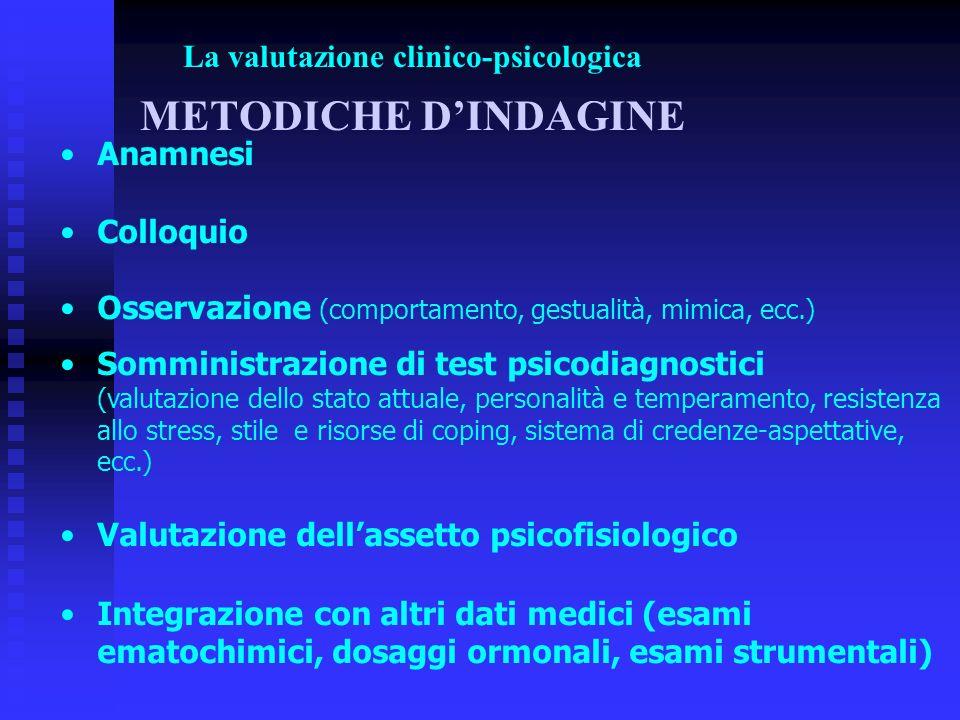 La valutazione clinico-psicologica METODICHE DINDAGINE Anamnesi Colloquio Osservazione (comportamento, gestualità, mimica, ecc.) Somministrazione di t