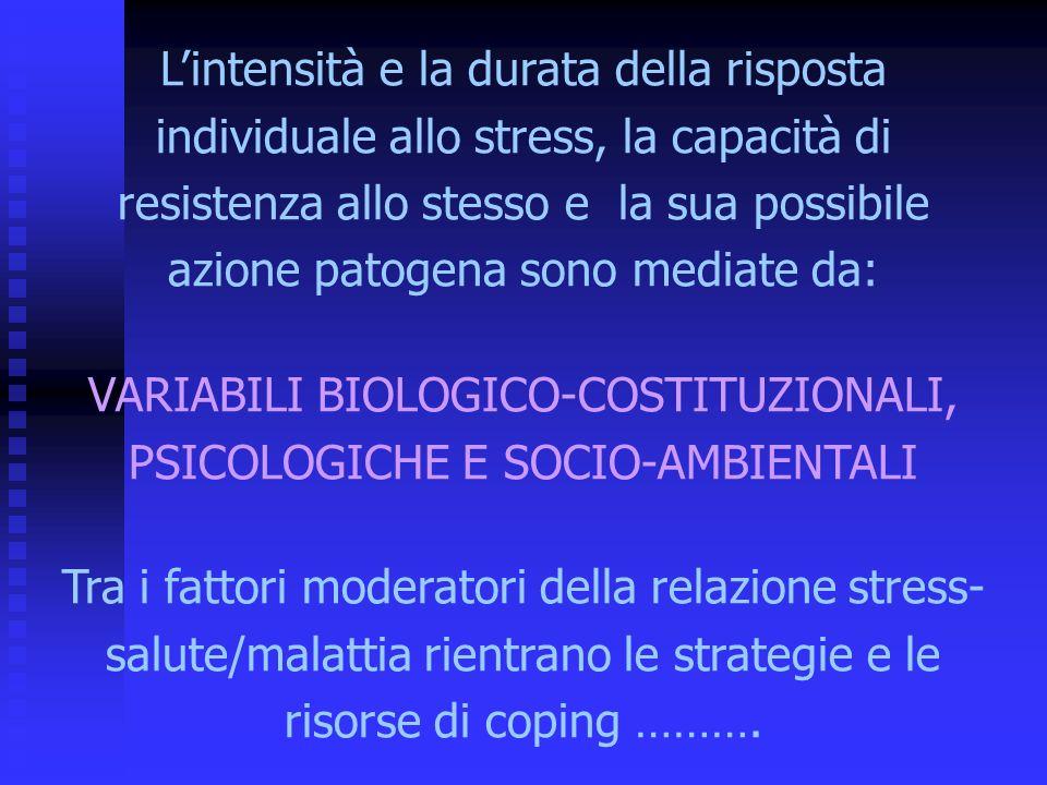 Lintensità e la durata della risposta individuale allo stress, la capacità di resistenza allo stesso e la sua possibile azione patogena sono mediate da: VARIABILI BIOLOGICO-COSTITUZIONALI, PSICOLOGICHE E SOCIO-AMBIENTALI Tra i fattori moderatori della relazione stress- salute/malattia rientrano le strategie e le risorse di coping ……….