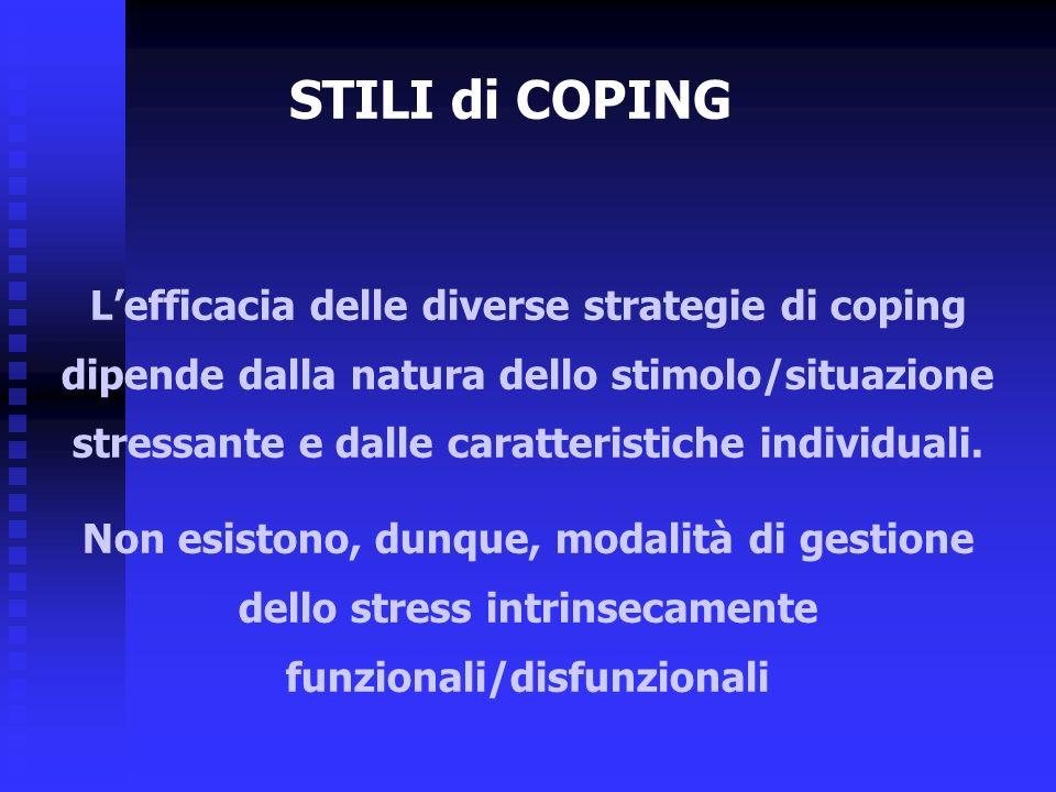 Lefficacia delle diverse strategie di coping dipende dalla natura dello stimolo/situazione stressante e dalle caratteristiche individuali. Non esiston