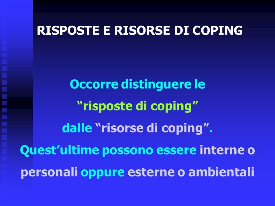 Occorre distinguere le risposte di coping dalle risorse di coping. Questultime possono essere interne o personali oppure esterne o ambientali RISPOSTE
