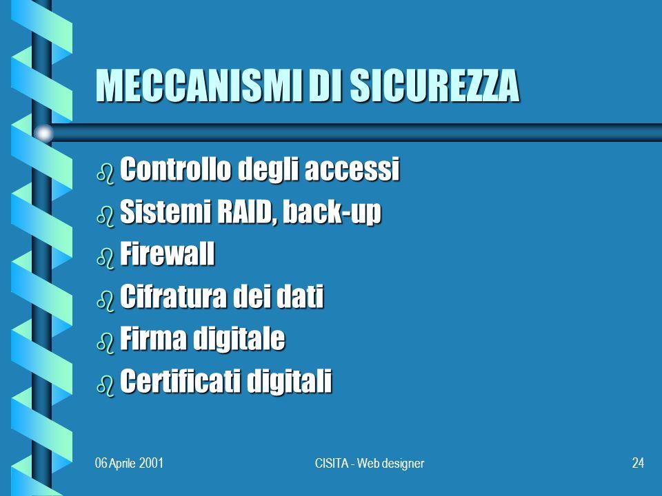06 Aprile 2001CISITA - Web designer24 MECCANISMI DI SICUREZZA b Controllo degli accessi b Sistemi RAID, back-up b Firewall b Cifratura dei dati b Firma digitale b Certificati digitali