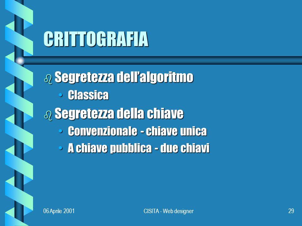 06 Aprile 2001CISITA - Web designer29 CRITTOGRAFIA b Segretezza dellalgoritmo ClassicaClassica b Segretezza della chiave Convenzionale - chiave unicaConvenzionale - chiave unica A chiave pubblica - due chiaviA chiave pubblica - due chiavi