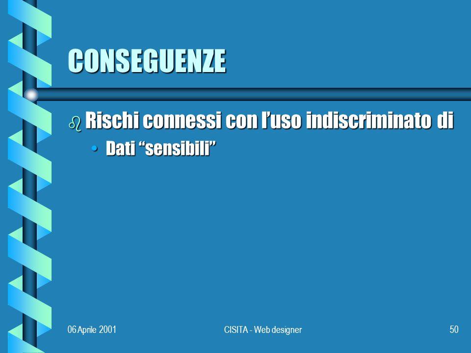 06 Aprile 2001CISITA - Web designer50 CONSEGUENZE b Rischi connessi con luso indiscriminato di Dati sensibiliDati sensibili