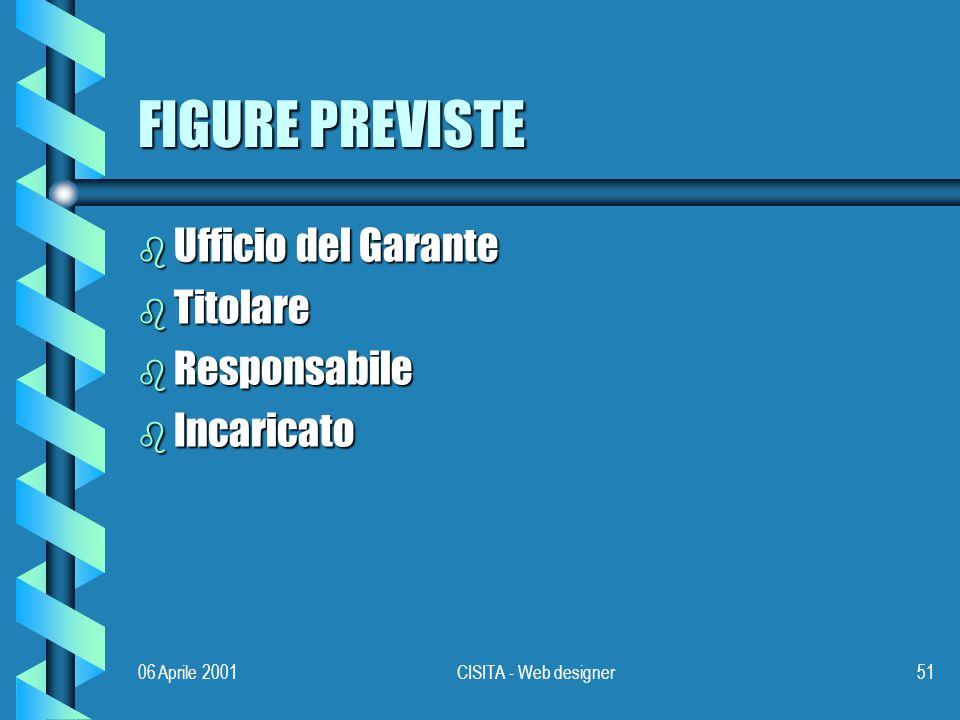 06 Aprile 2001CISITA - Web designer51 FIGURE PREVISTE b Ufficio del Garante b Titolare b Responsabile b Incaricato