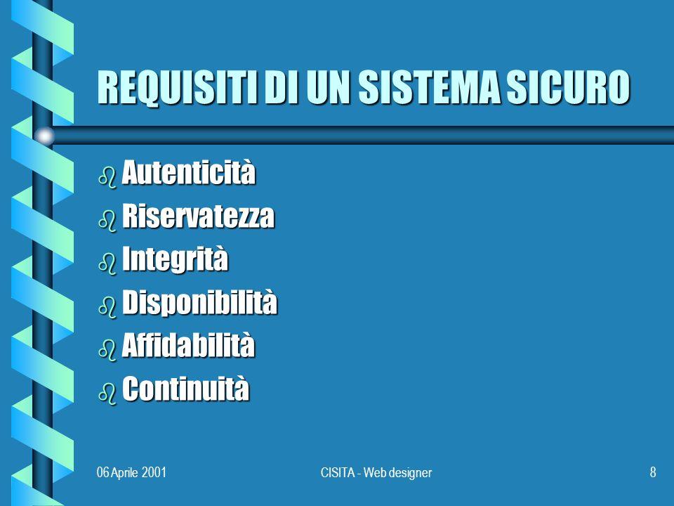06 Aprile 2001CISITA - Web designer8 REQUISITI DI UN SISTEMA SICURO b Autenticità b Riservatezza b Integrità b Disponibilità b Affidabilità b Continuità