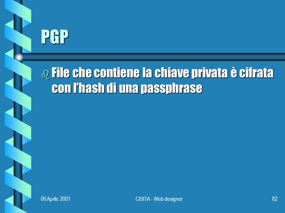 06 Aprile 2001CISITA - Web designer82 PGP b File che contiene la chiave privata è cifrata con lhash di una passphrase