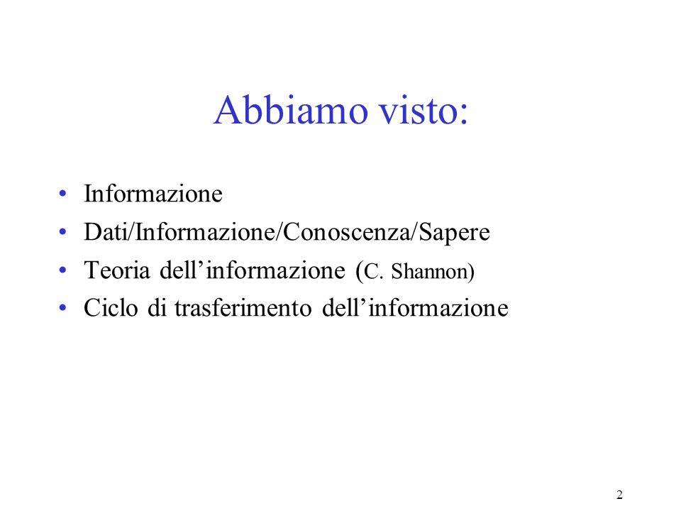 2 Abbiamo visto: Informazione Dati/Informazione/Conoscenza/Sapere Teoria dellinformazione ( C.