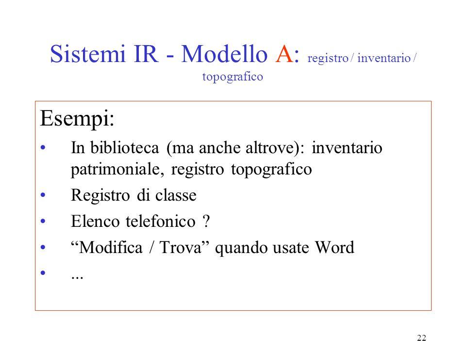 22 Sistemi IR - Modello A: registro / inventario / topografico Esempi: In biblioteca (ma anche altrove): inventario patrimoniale, registro topografico Registro di classe Elenco telefonico .