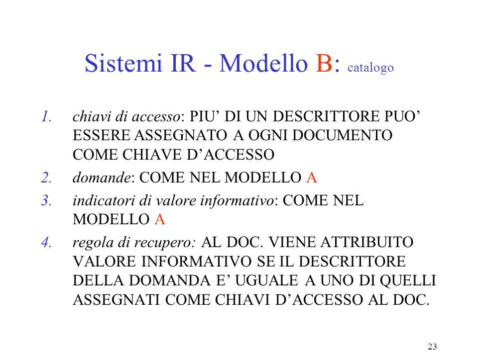 23 Sistemi IR - Modello B: catalogo 1.chiavi di accesso: PIU DI UN DESCRITTORE PUO ESSERE ASSEGNATO A OGNI DOCUMENTO COME CHIAVE DACCESSO 2.domande: COME NEL MODELLO A 3.indicatori di valore informativo: COME NEL MODELLO A 4.regola di recupero: AL DOC.