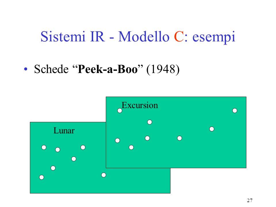 27 Sistemi IR - Modello C: esempi Schede Peek-a-Boo (1948) Lunar Excursion