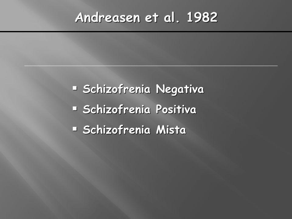 Andreasen et al. 1982 Schizofrenia Negativa Schizofrenia Negativa Schizofrenia Positiva Schizofrenia Positiva Schizofrenia Mista Schizofrenia Mista