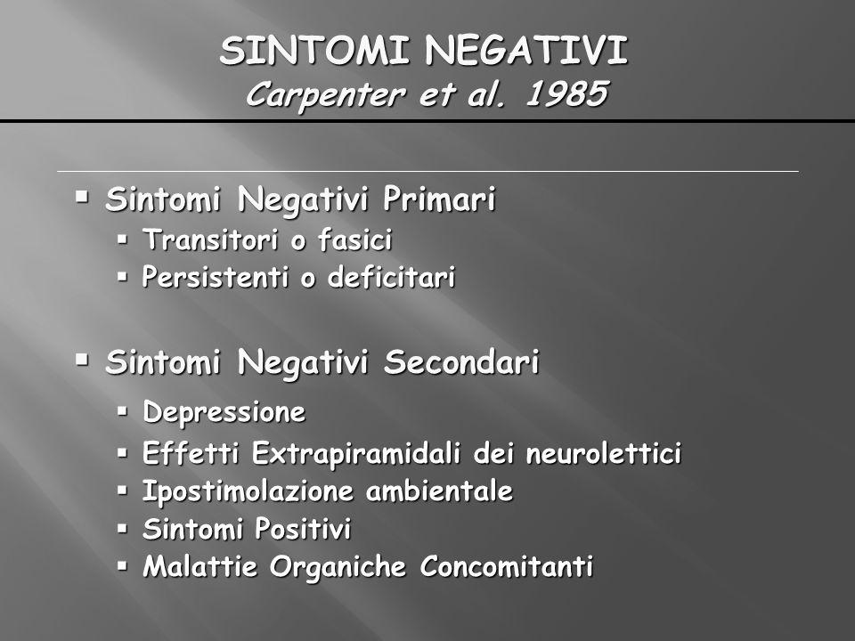 SINTOMI NEGATIVI Carpenter et al. 1985 Sintomi Negativi Primari Sintomi Negativi Primari Transitori o fasici Transitori o fasici Persistenti o deficit