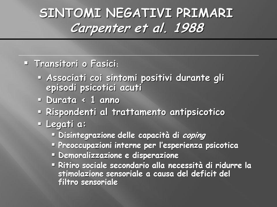 SINTOMI NEGATIVI PRIMARI Carpenter et al. 1988 Transitori o Fasici : Transitori o Fasici : Associati coi sintomi positivi durante gli episodi psicotic