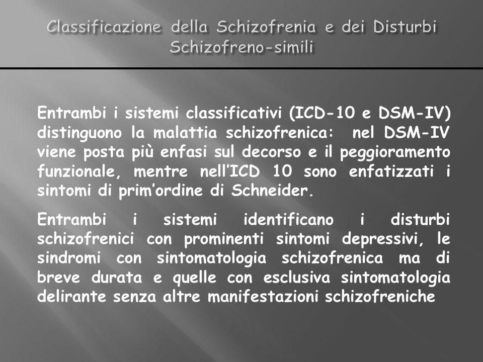 Entrambi i sistemi classificativi (ICD-10 e DSM-IV) distinguono la malattia schizofrenica: nel DSM-IV viene posta più enfasi sul decorso e il peggiora