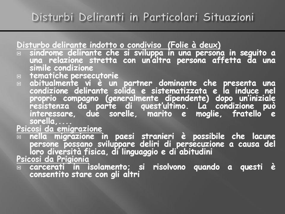 Disturbo delirante indotto o condiviso (Folie à deux) sindrome delirante che si sviluppa in una persona in seguito a una relazione stretta con unaltra