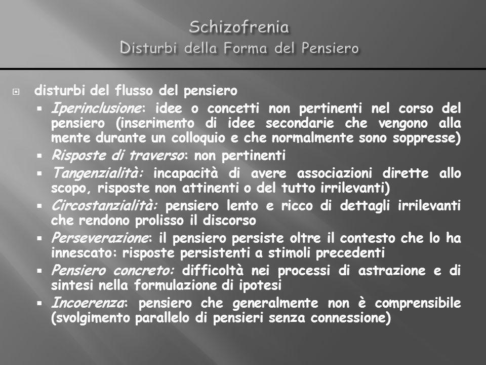 disturbi del flusso del pensiero Iperinclusione: idee o concetti non pertinenti nel corso del pensiero (inserimento di idee secondarie che vengono all