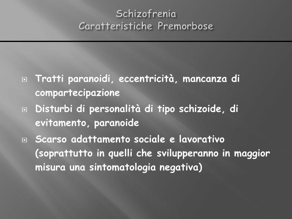 Tratti paranoidi, eccentricità, mancanza di compartecipazione Disturbi di personalità di tipo schizoide, di evitamento, paranoide Scarso adattamento s