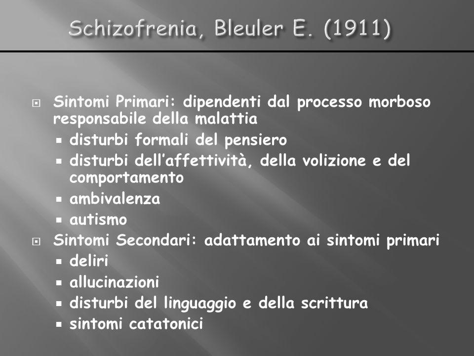 Sintomi Primari: dipendenti dal processo morboso responsabile della malattia disturbi formali del pensiero disturbi dellaffettività, della volizione e