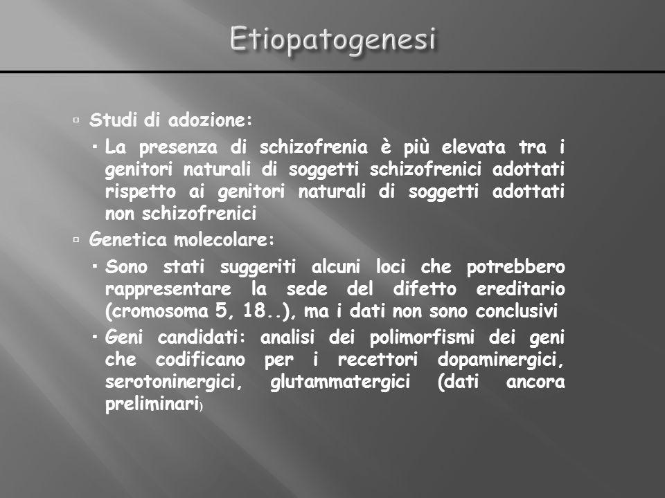 Studi di adozione: La presenza di schizofrenia è più elevata tra i genitori naturali di soggetti schizofrenici adottati rispetto ai genitori naturali