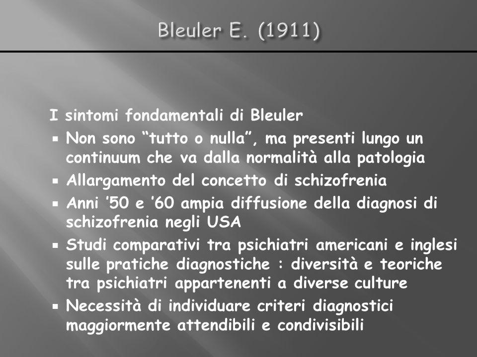 I sintomi fondamentali di Bleuler Non sono tutto o nulla, ma presenti lungo un continuum che va dalla normalità alla patologia Allargamento del concet