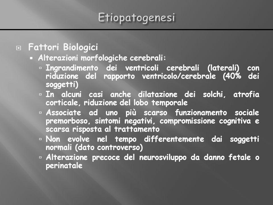 Fattori Biologici Alterazioni morfologiche cerebrali: Ingrandimento dei ventricoli cerebrali (laterali) con riduzione del rapporto ventricolo/cerebral