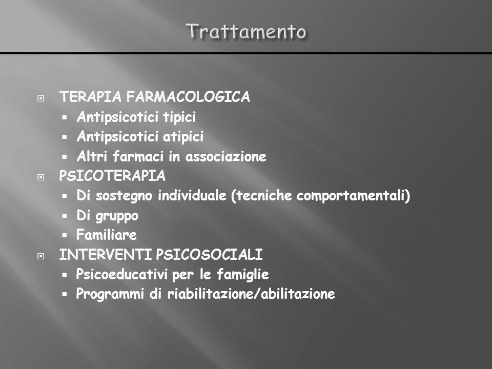 TERAPIA FARMACOLOGICA Antipsicotici tipici Antipsicotici atipici Altri farmaci in associazione PSICOTERAPIA Di sostegno individuale (tecniche comporta