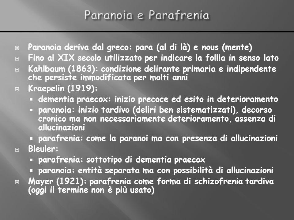 Paranoia deriva dal greco: para (al di là) e nous (mente) Fino al XIX secolo utilizzato per indicare la follia in senso lato Kahlbaum (1863): condizio
