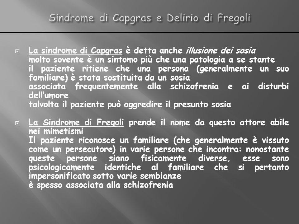 La sindrome di Capgras è detta anche illusione dei sosia molto sovente è un sintomo più che una patologia a se stante il paziente ritiene che una pers