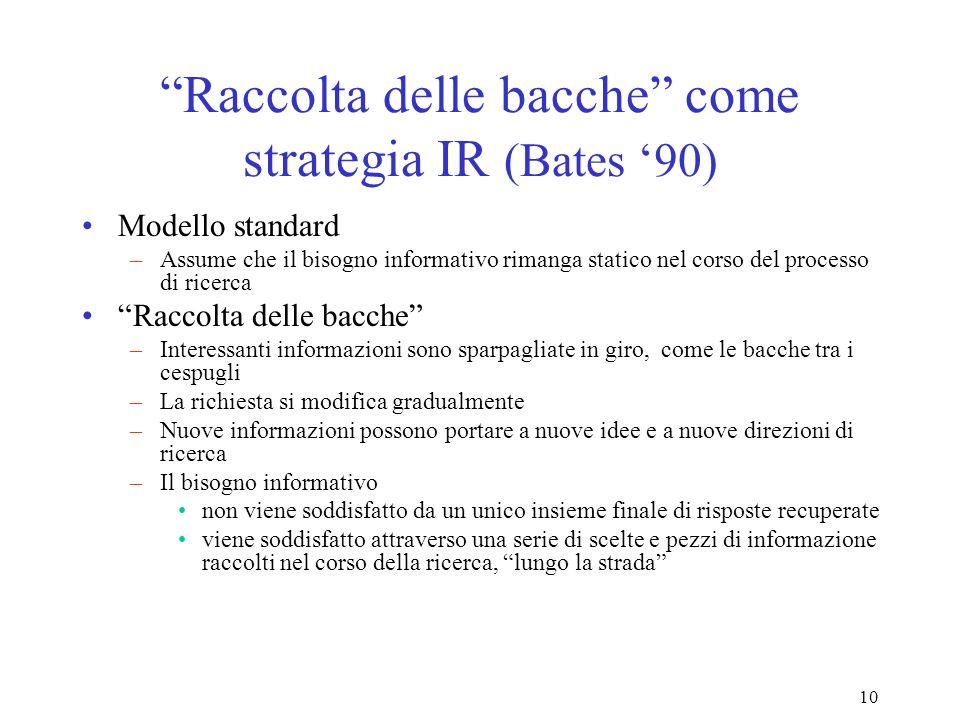 10 Raccolta delle bacche come strategia IR (Bates 90) Modello standard –Assume che il bisogno informativo rimanga statico nel corso del processo di ricerca Raccolta delle bacche –Interessanti informazioni sono sparpagliate in giro, come le bacche tra i cespugli –La richiesta si modifica gradualmente –Nuove informazioni possono portare a nuove idee e a nuove direzioni di ricerca –Il bisogno informativo non viene soddisfatto da un unico insieme finale di risposte recuperate viene soddisfatto attraverso una serie di scelte e pezzi di informazione raccolti nel corso della ricerca, lungo la strada