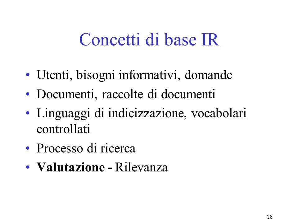18 Concetti di base IR Utenti, bisogni informativi, domande Documenti, raccolte di documenti Linguaggi di indicizzazione, vocabolari controllati Processo di ricerca Valutazione - Rilevanza