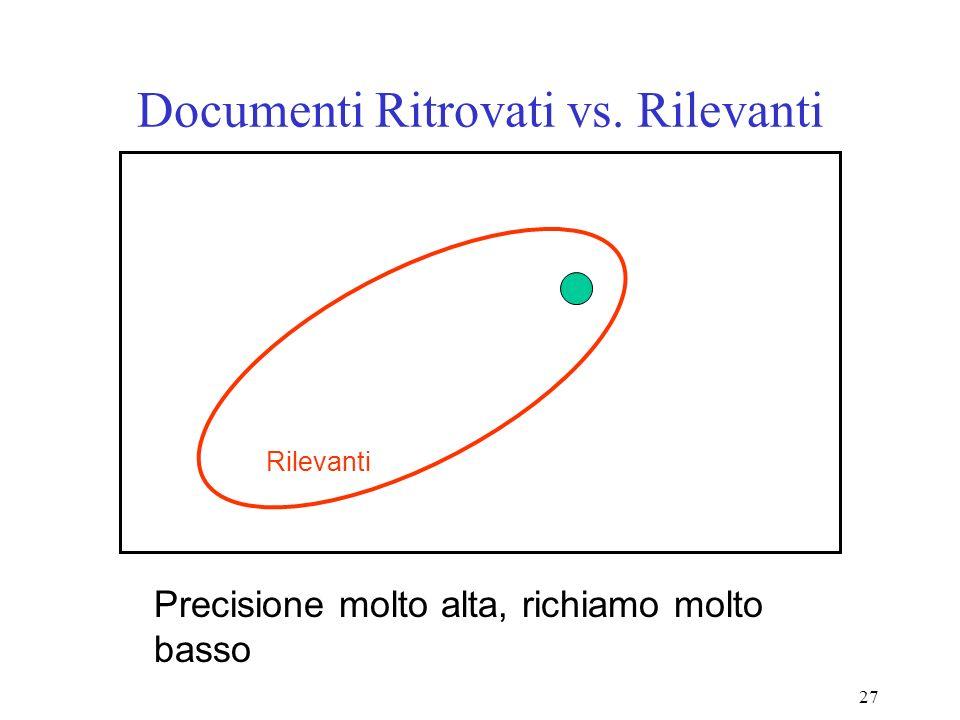 27 Documenti Ritrovati vs. Rilevanti Precisione molto alta, richiamo molto basso Rilevanti