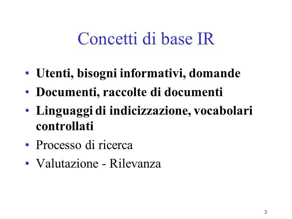 3 Concetti di base IR Utenti, bisogni informativi, domande Documenti, raccolte di documenti Linguaggi di indicizzazione, vocabolari controllati Processo di ricerca Valutazione - Rilevanza