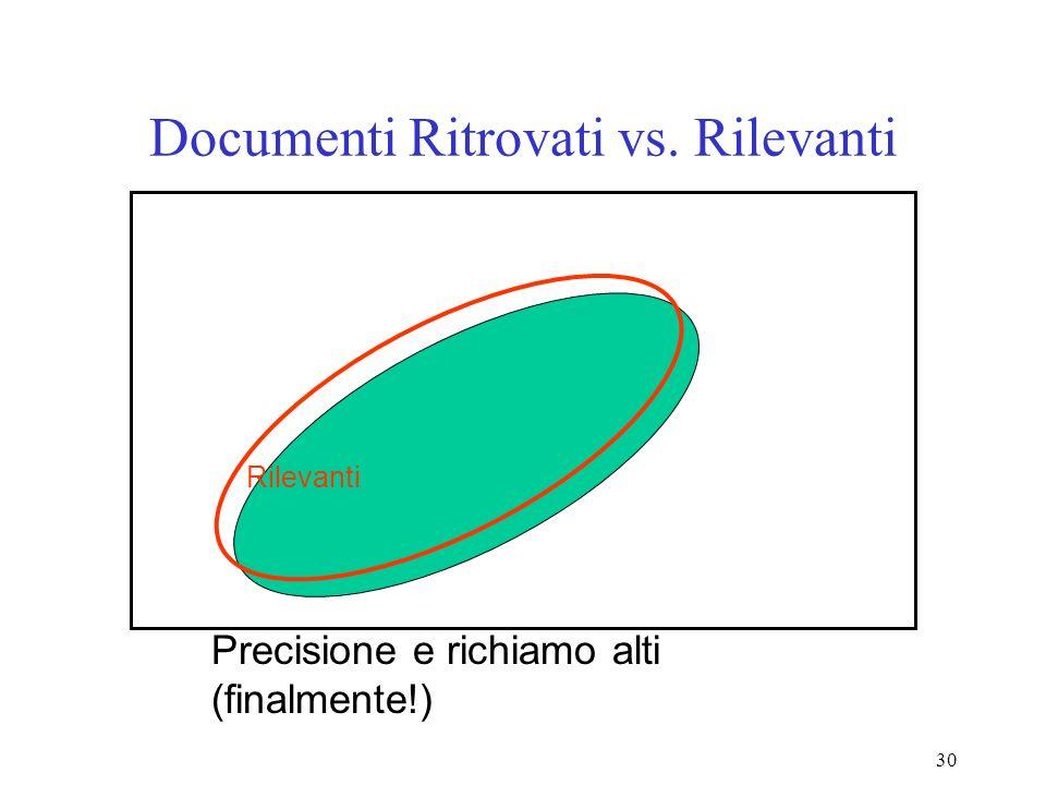 30 Documenti Ritrovati vs. Rilevanti Precisione e richiamo alti (finalmente!) Rilevanti